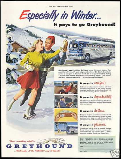 Greyhound Bus Travel Ice Skate Skating (1952)