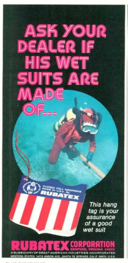Rubatex Diver Scuba Diving Wet Suit (1974)