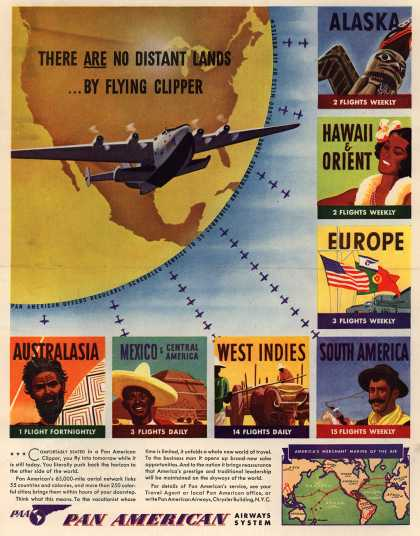 Pan American Airways System – There Are No Distant Lands... By Flying Clipper (1940)