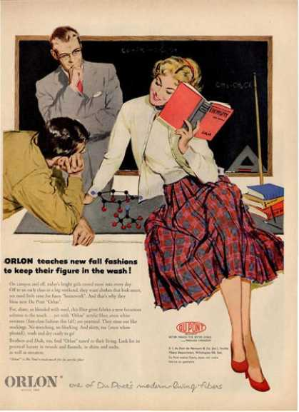 Orlon Acrylic Fiber School Teacher Ad T (1953)