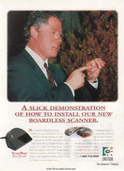 Logitech – Bill Clinton slick demonstration installing scanner (1993)