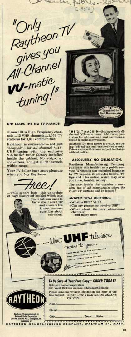 "Raytheon Manufacturing Company's Television – ""Only Raytheon TV gives you All-Channel VU-matic tuning!"" (1952)"