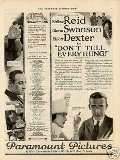 "Paramount Pictures Ad ""Don't Tell Everything"" (1921)"
