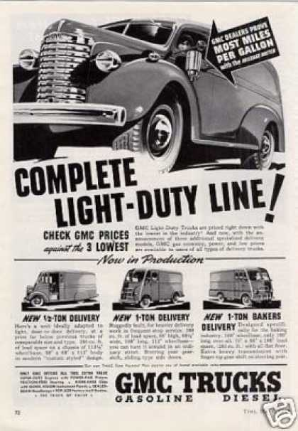 "Gmc Trucks Ad ""Complete Light-duty Line... (1940)"