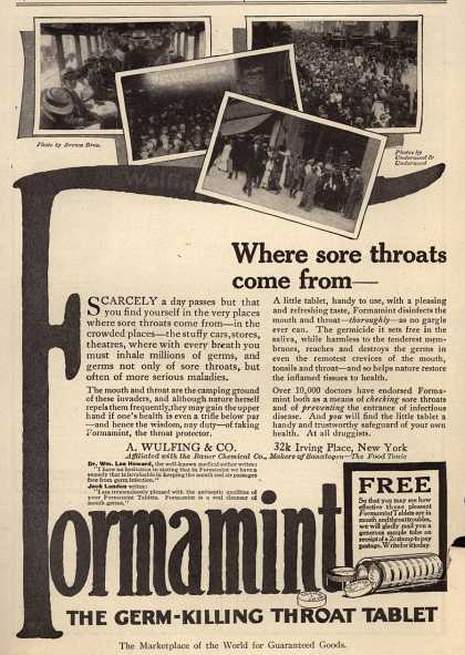 A. Wulfing & Company's Wulfing's Formamint – Where sore throats come from- (1915)