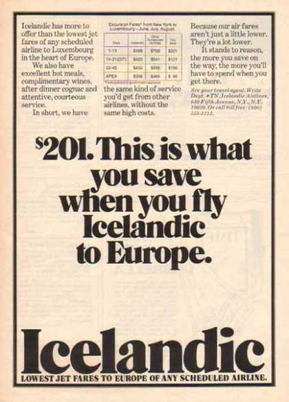 Icelandic Airlines – to Europe (1976)