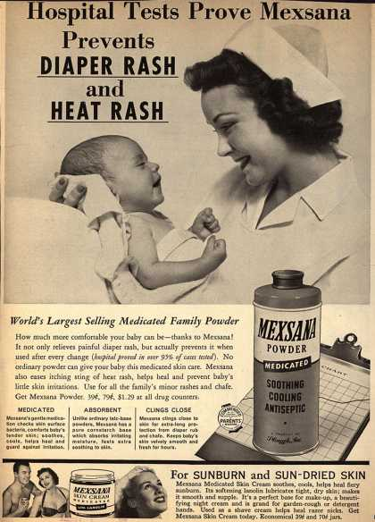 Plough's Mexsana – Hospital Tests Prove Mexsana Prevents Diaper Rash and Heat Rash (1957)