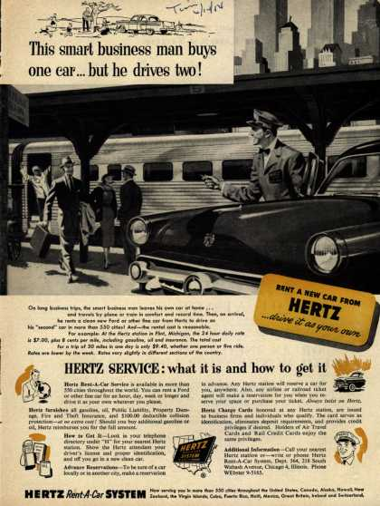 Hertz's Service – This smart business man buys one car... but he drives two (1954)