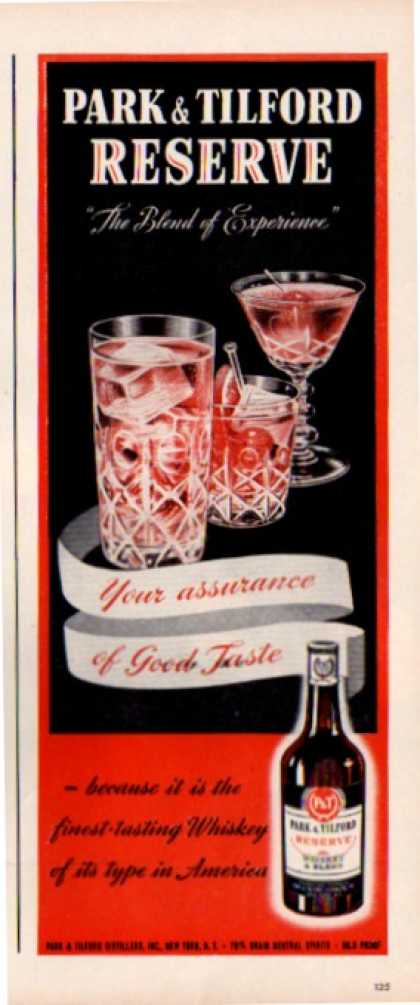 Park & Tilford Whiskey a Blend Glasses (1943)
