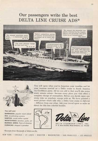 Delta Lines Cruise Ship Great Detailed (1964)