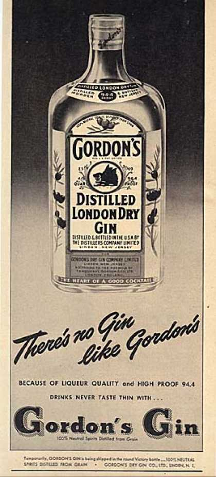 Gordon's Distilled London Dry Gin (1948)