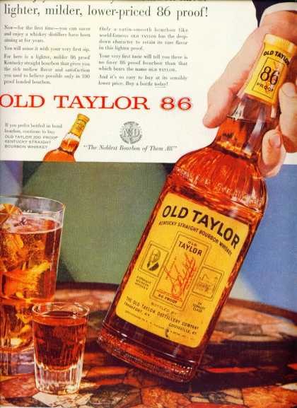 Old Taylor Kentucky Straight Bourbon Whiskey (1955)