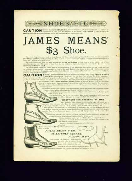 James Means $3 Shoe Ad Button Lace Bals Congress (1887)