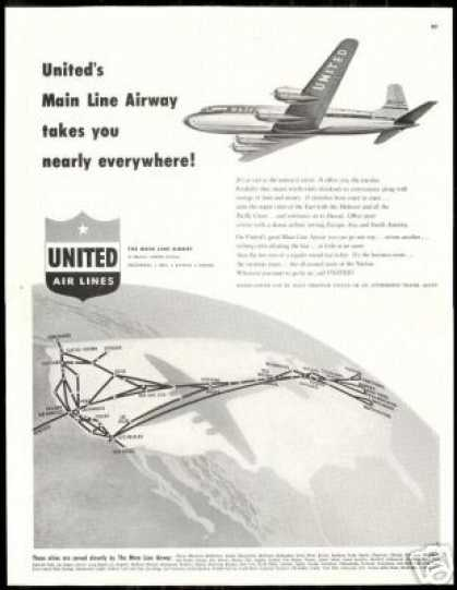 United Airlines Mainliner 300 System Map (1948)