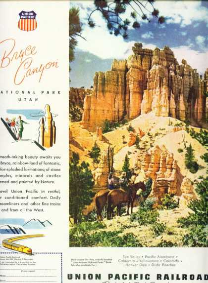 Union Pacific Railroad Bryce Canyon Utah C (1948)