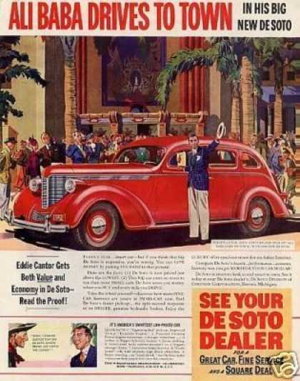 Desoto Car Color Ad Eddie Cantor (1938)
