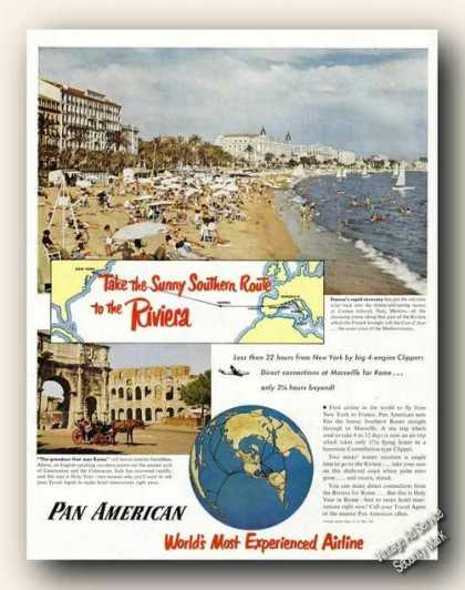 French Riviera Beach Color Photo Pan American (1950)