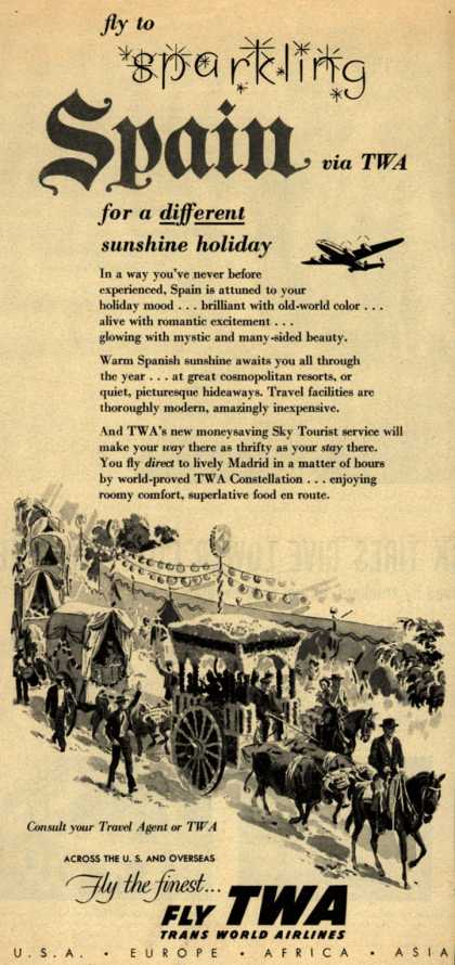 Trans World Airline's Spain – Fly to sparkling Spain via TWA (1954)