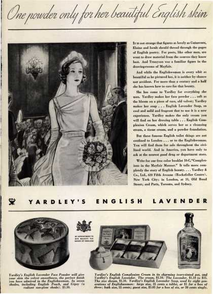 Yardley & Co., Ltd.'s English Lavender Cosmetics – One powder only for her beautiful English skin (1934)