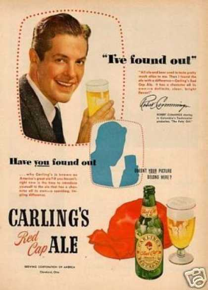 Carling's Red Cap Ale Ad Robert Cummings (1950)