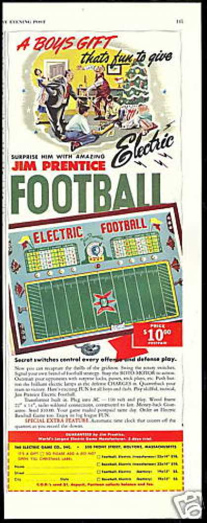 Jim Prentice Electric Football Game (1950)