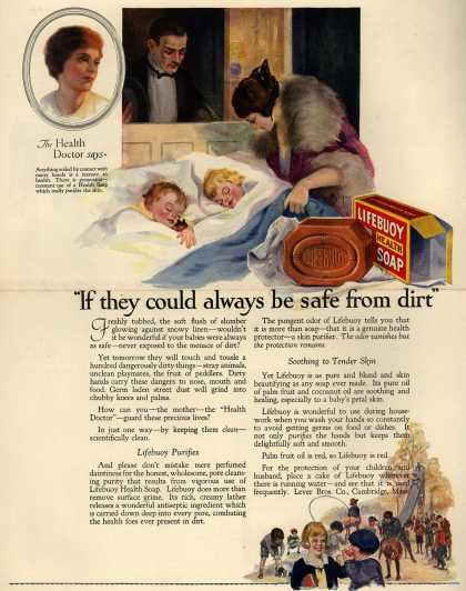 "Lever Brothers Company's Lifebuoy Health Soap – ""If they could always be safe from dirt"" (1923)"