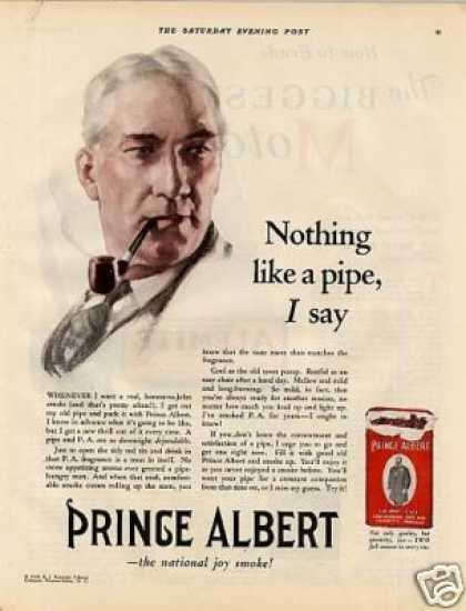 "Prince Albert Tobacco Color Ad ""Nothing Like A... (1928)"
