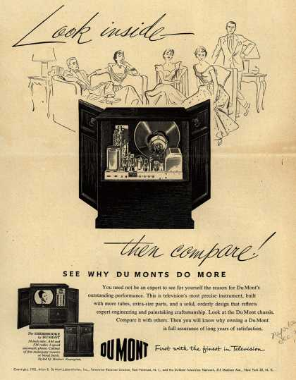 Allen B. DuMont Laboratorie's The DuMont Sherbrooke Television Console – Look Inside, Then Compare. See Why DuMonts Do More (1951)