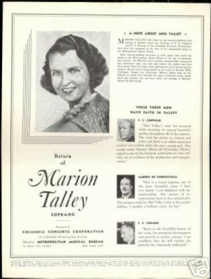 Marion Talley Opera Soprano Photo Review (1940)