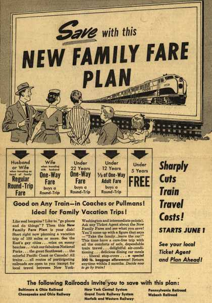 Various railroad's Family Fare Plan – Save with this New Family Fare Plan (1954)