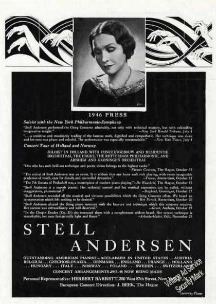 Stell Andersen Photo Pianist Booking (1947)