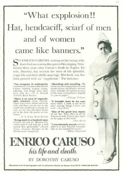 Enrico Caruso Life and Death Book (1945)