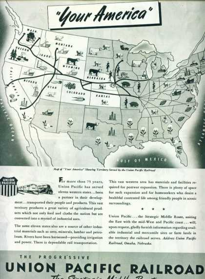Union Pacific C Ad Your America W Route Map (1945)