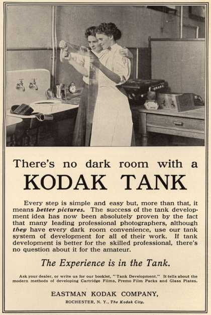 Kodak – There's no dark room with a Kodak Tank (1909)