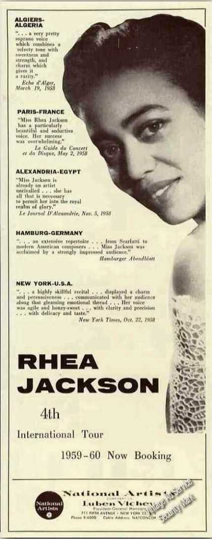 Rhea Jackson Photo Soprano Booking (1959)