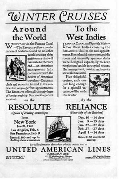 United American Lines Cruise -Around the World & West Indies (1925)