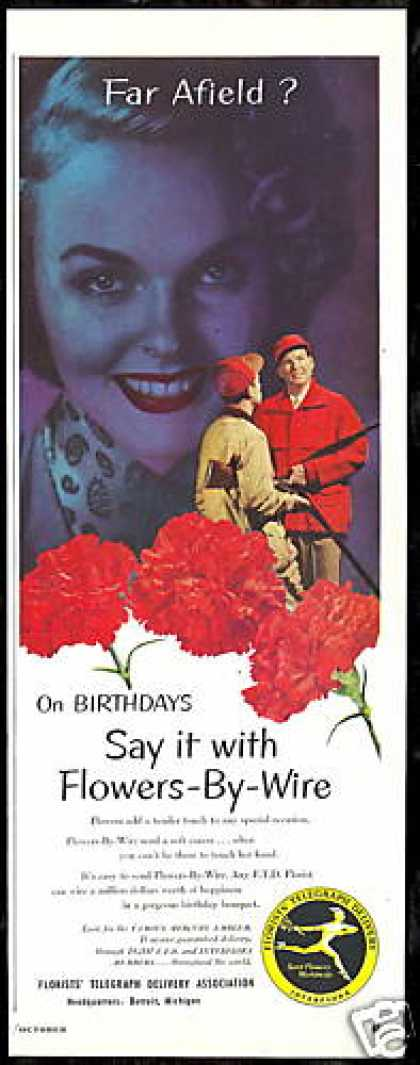 FTD Florists Red Carnation Flowers Photo (1951)