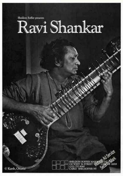 Ravi Shanker Photo Indian Sitarist Rare Booking (1986)