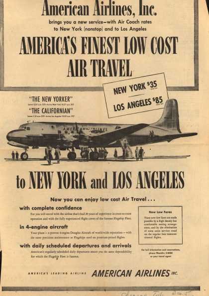 American Airlines – American Airlines Incorporated Brings You a New Service-With Air Coach Rates to New York (nonstop) and to Los Angeles. America's Finest Low Cost Air (1949)