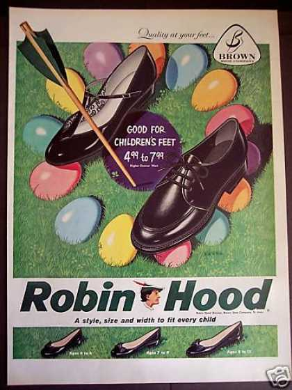Easter Egg Art Robin Hood Shoes Brown Shoe Co (1959)