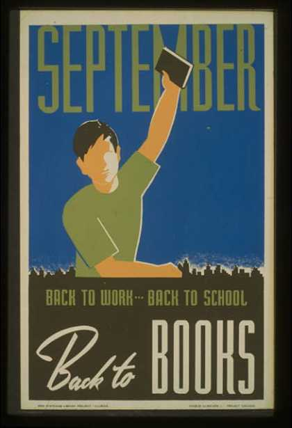 September. Back to work – back to school, back to books. (1936)