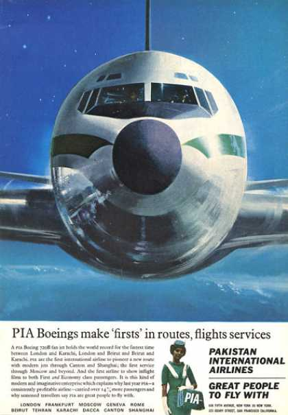 Pia Pakistan Airlines Stewardess Boeing 720b (1964)