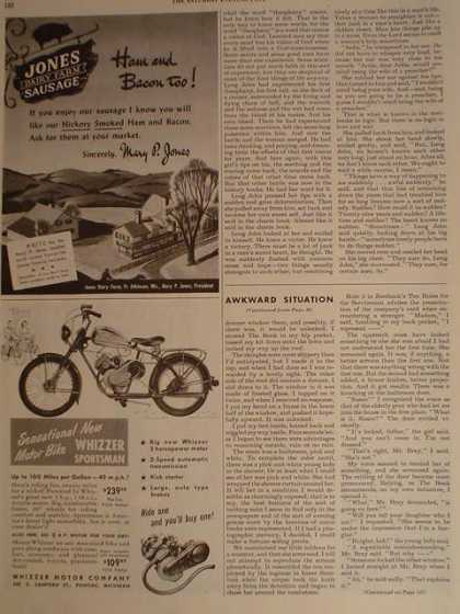 Whizzer sportsman motor bike motorcycle 1/4 pg (1950)