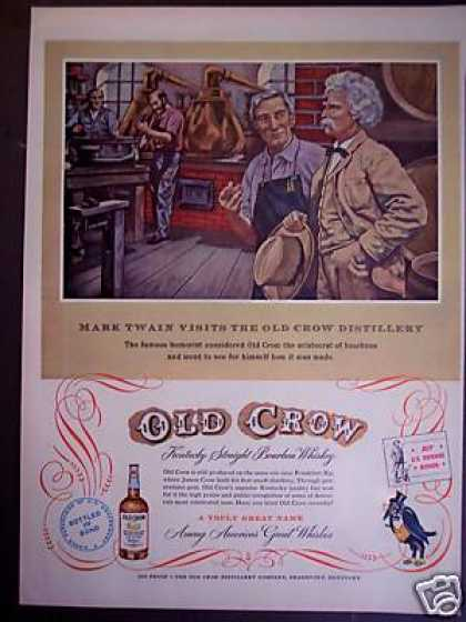 Mark Twain Old Crow Distillery Bourbon Whiskey (1953)