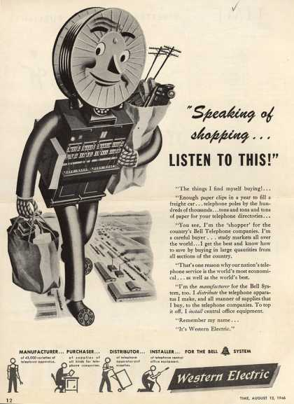 "Western Electric's Corporation – ""Speaking of shopping... Listen To This!"" (1946)"