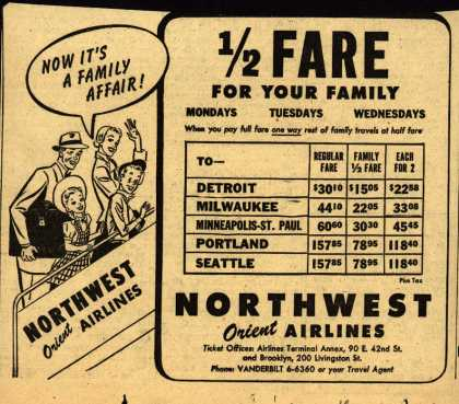 Northwest Airline's Family Half Fare – 1/2 FARE FOR YOUR FAMILY (1950)