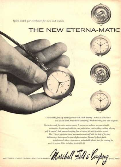 Eterna Matic Pocket Watch Marshall Field (1951)