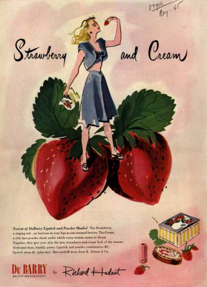Richard Hudnut's Strawberry, Cream lipstick and powder shades – Strawberry and Cream (1945)