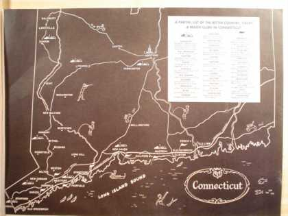 Connecticut map of country, Yacht and beach clubs (1964)
