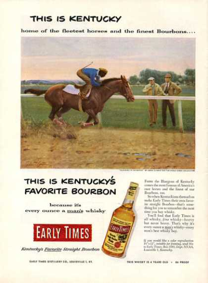 Early Times Whisky John Clymer Horse Racing (1952)